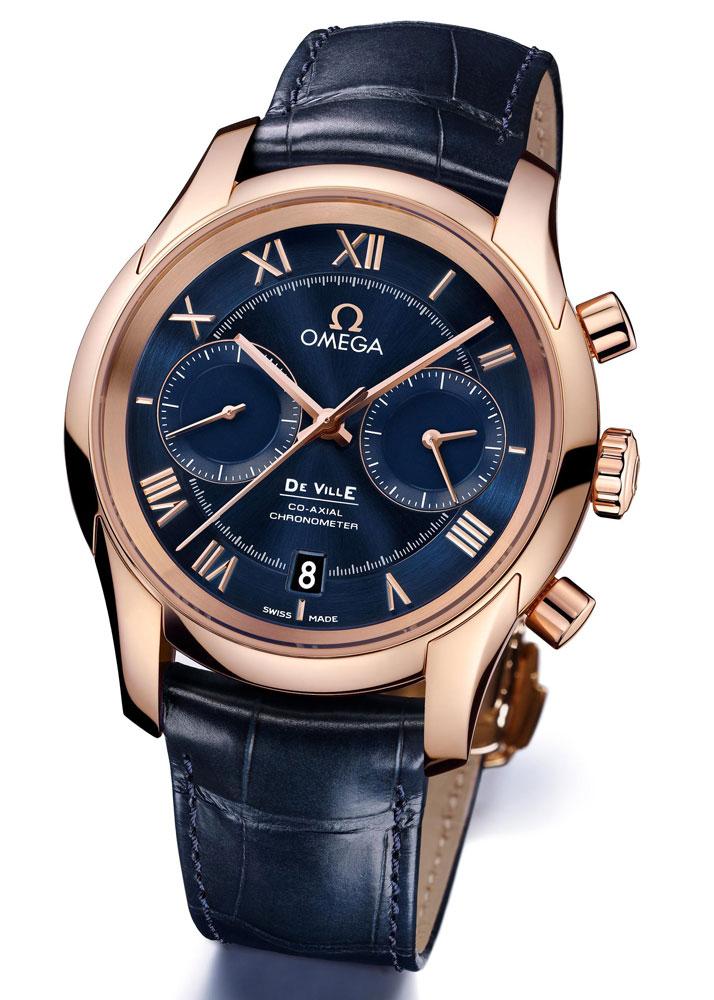 Omega De Ville Co-Axial Chronograph quadrante blu Replica Orologio 431.53.42.51.03.001