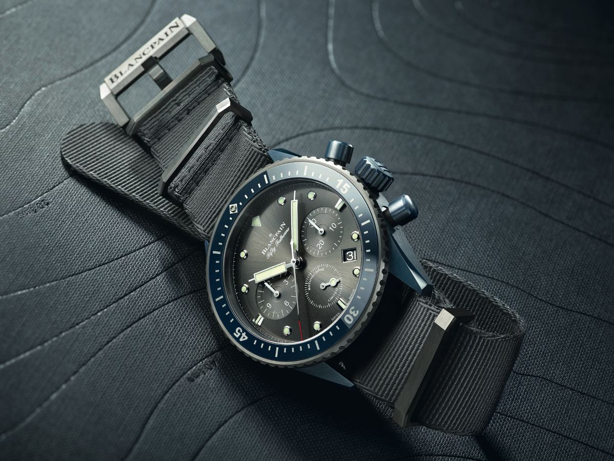 orologio Fifty Fathoms Bathyscaphe Chronographe Flyback Blancpain Ocean Commitment II