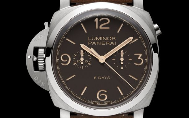 Alta qualità SIHH 2014 Panerai Luminor 1950 Chrono Monopulsante Left-Handed 8 Days Titanio – 47mm Replica svizzera